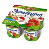 Йогурт Эрмигурт легкий клубника-земляника 0.3% 4 штуки по 100 г