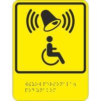 Знак безопасности Кнопка вызова персонала для оказания ситуационной помощи ТП7 (200х150, пластик, тактильный)