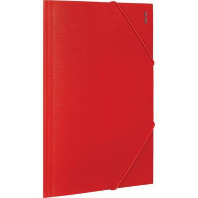 Папка на резинках Комус Шелк А4 15 мм пластиковая до 200 листов красная (толщина обложки 0.5 мм)