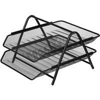 Лоток для бумаг горизонтальный Attache (2 секции, металлическая сетка, высота 295 мм, черный)