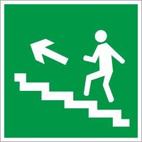 Знак безопасности Направление к эвакуационному выходу по лестнице вверх, левосторонний E16 (200х200 мм, пленка ПВХ, фотолюминесцентный)