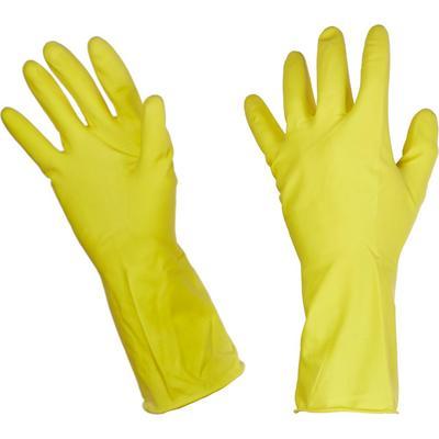 Перчатки резиновые Paclan Professional латекс хлопковое напыление желтые  (размер М)