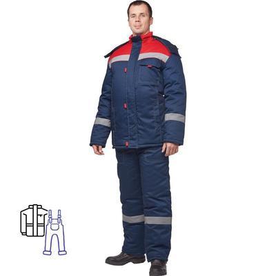 Костюм рабочий зимний мужской з31-КПК с СОП синий/красный (размер 60-62, рост 158-164)