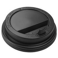 Крышка для стакана 90 мм пластиковая черная с клапаном 100 штук в упаковке Комус Эконом