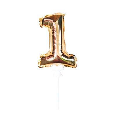 Шар самонадувной Цифра 1 золотистый 18 см