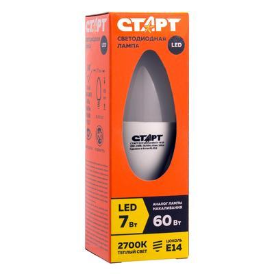 Лампа светодиодная Старт ECO 7Вт E14 свеча 2700K теплый белый свет