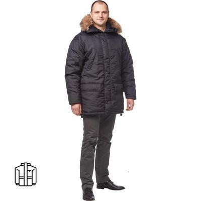 Куртка рабочая зимняя мужская Аляска черная(размер 52-54, рост 182-188)