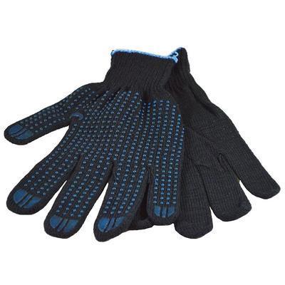 Перчатки рабочие трикотажные с ПВХ Точка 4 нити 10 класс черные (10 пар в упаковке)