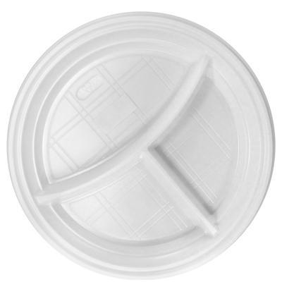 Тарелка одноразовая пластиковая 3-х секционная 205 мм белая 100 штук в упаковке Комус Эконом