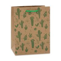 Пакет подарочный из крафт-бумаги Кактусы (18х23х10 см)