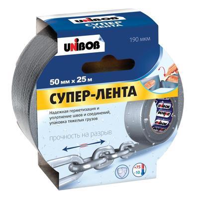 Клейкая лента армированная Unibob 50 мм x 25 м 190 мкм серая
