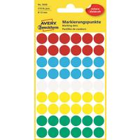 Этикетки самоклеящиеся Avery Zweckform ассорти d 12 мм (54 штуки на листе, 5 листов в упаковке, артикул производителя 3088)