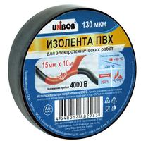 Изолента Unibob ПВХ черная 15 мм х 10 м черная