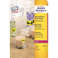 Этикетки самоклеящиеся Avery Zweckform неоновые желтые 63.5х29.6 мм (27 штук на листе А4, 25 листов в упаковке)