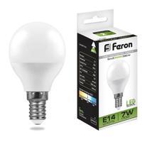 Лампа светодиодная Feron 7 Вт E14 шарообразная 4000 К нейтральный белый свет