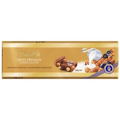 Шоколад Lindt Gold молочный с изюмом и цельным фундуком 300 г