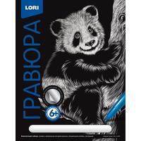Набор для творчества Lori Гравюра Озорная панда с эффектом серебра