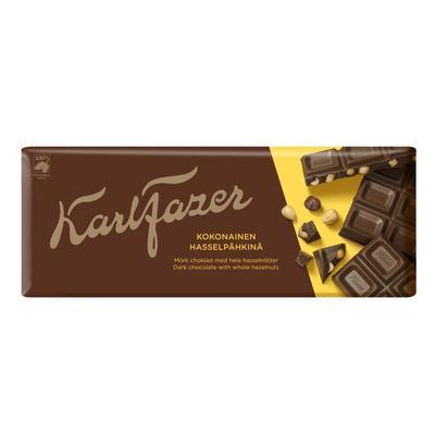 Шоколад Karl Fazer темный с цельным фундуком 200 г