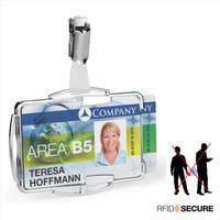 Бейдж Durable с защитой от RFID для 2-х карт горизонтальный/вертикальный 90х70 мм с зажимом (10 штук в упаковке)