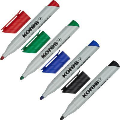 Набор маркеров для бумаги для флипчартов Kores XF1 4 цвета (толщина линии 3 мм) крыглый наконечник