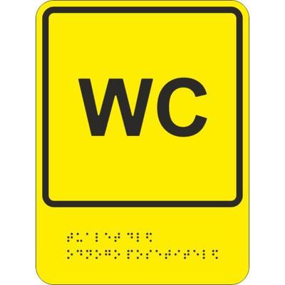 Знак безопасности Обособленный туалет для одного посетителя ТП9 (200х150 мм, пластик, тактильный)