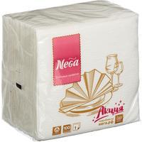 Салфетки бумажные Nega 24x24 см белые 1-слойные 100 штук в упаковке