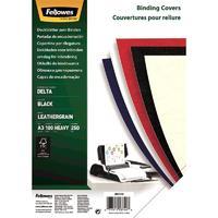 Обложки для переплета картонные Fellowes А3 250 г/кв.м черные текстура кожа (100 штук в упаковке)