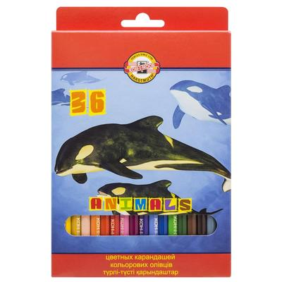 Карандаши цветные Koh-I-Noor Животные 36 цветов шестигранные