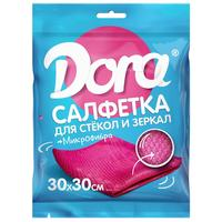Салфетка хозяйственная Dora для стекол и зеркал микрофибра 30х30см  розовый