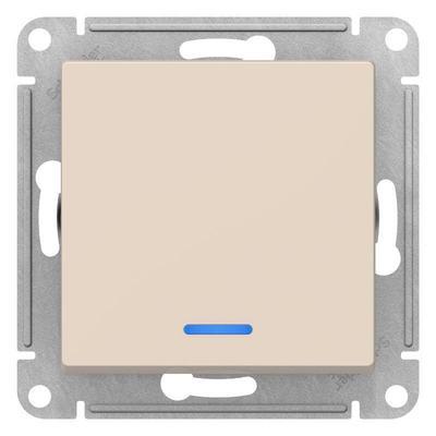 Выключатель одноклавишный Schneider AtlasDesign 10АХ бежевый с синей подсветкой