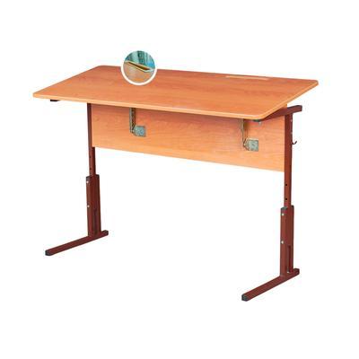 Стол ученический двухместный Фортресс с регулируемым наклоном столешницы (бук/коричневый, рост 3-7)