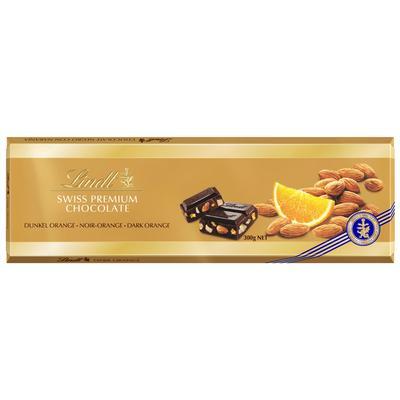 Шоколад Lindt Gold темный с апельсином и миндалем 300 г