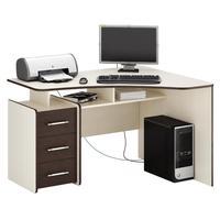 Стол компьютерный угловой Триан-5 правый (дуб молочный/венге, 1200x750x900 мм)