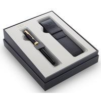 Набор пишущих принадлежностей Parker Sonnet Black GT (ручка перьевая, чехол)