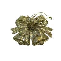 Новогоднее украшение Подвеска колокольчики пластик золотистый (высота 13 см)