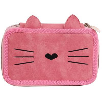 Пенал двухсекционный №1 School Kitty розовый