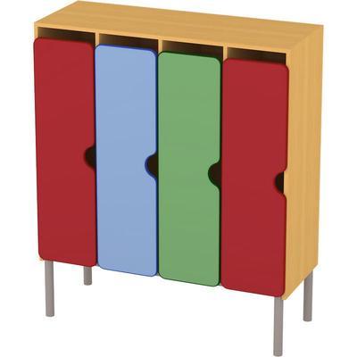 Шкаф для одежды детский М-233-4 четырехсекционный (разноцветный, 1110x440x1300 мм)