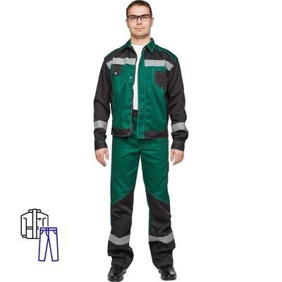 Костюм рабочий летний мужской л21-КБР с СОП зеленый/черный (размер 56-58, рост 182-188)