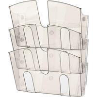 Лоток настенный А4 горизонтальный (310x430 мм) 3 отделения пластик  цвет дымчатый   Attache