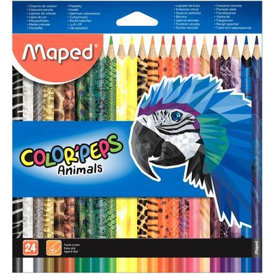 Карандаши цветные Maped Color'peps Animals 24 цвета трехгранные