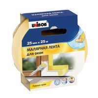 Клейкая лента малярная для заклейки окон Unibob желтая 25 мм х 25 м
