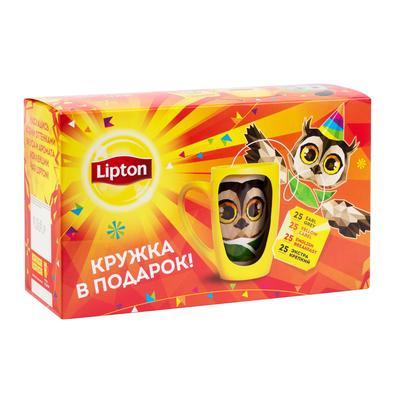 Чай Lipton черный 100 пакетиков + кружка (промоупаковка)