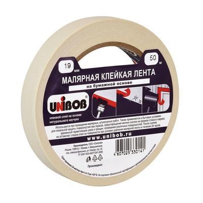 Клейкая лента малярная Unibob белая 19 мм х 50 м (бумажная, легкоудаляемая)