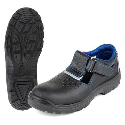 Полуботинки с перфорацией (сандалии) ПУ из кожи черные с металлическим  подноском размер 43