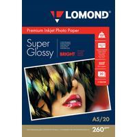 Фотобумага для цветной  струйной печати Lomond односторонняя (глянцевая, А5, 260 г/кв.м, 20 листов, артикул производителя 1103104)