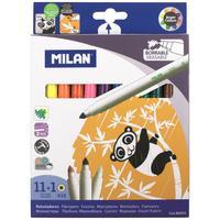 Фломастеры Milan 11 цветов со стирателем