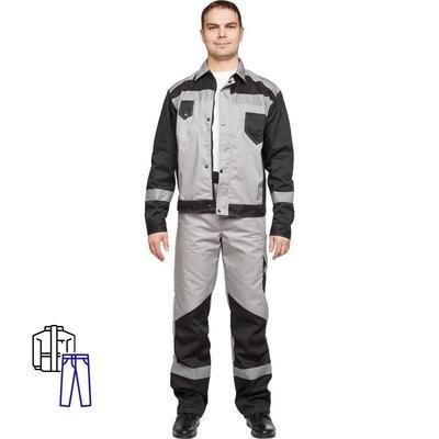 Костюм рабочий летний мужской л21-КБР с СОП серый/черный (размер 64-66, рост 170-176)
