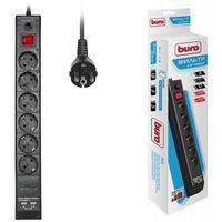Сетевой фильтр Buro BU-SP1.8_USB_2A-B 1.8м (6 розеток) черный