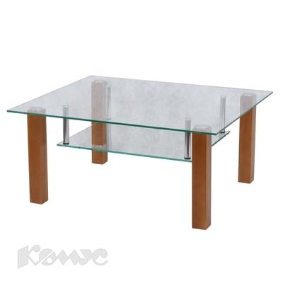 Стол журнальный Кристалл-ПД (орех/стекло прозрачное)