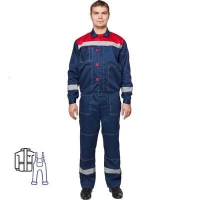 Костюм рабочий летний мужской л20-КПК с СОП синий/красный (размер 56-58, рост 170-176)